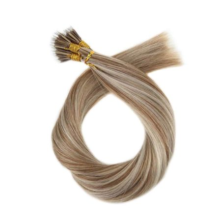 Straight Micro Nano Human Hair Extension Medium Brown#6 with Platinum Blonde#60 50 Strands 40g Per Pack (3)