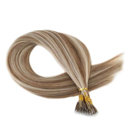 Straight Micro Nano Human Hair Extension Medium Brown#6 with Platinum Blonde#60 50 Strands 40g Per Pack (4)