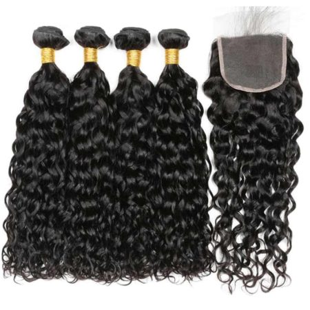 Wet And Wavy Brazilian Remy Hair 4 Bundles With Closure Hair Weave (1)