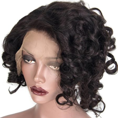 100 Brazilian Human Hair Lace Front Wigs Bouncy Curly Short Bob 180% Density Hair (5)