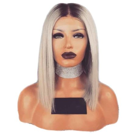 Ash Blonde Lace Front Wig With Dark Roots 12 14Inch Short Bob Straight Synthetic 180 Density Hair (4)