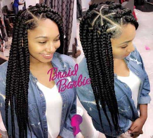 Big triangle box braids
