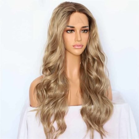 Bleach Blonde Lace Front Wig Hand Tied Synthetic Natural Wave Ombre Brown Hair Roots (1)