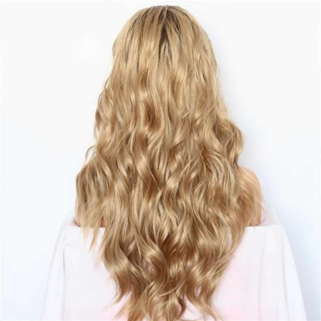 Bleach Blonde Lace Front Wig Hand Tied Synthetic Natural Wave Ombre Brown Hair Roots (2)