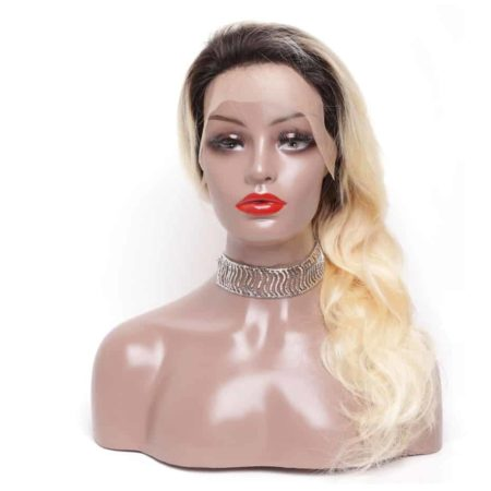Blonde Lace Front Wig With Dark Roots Human Remy Brazilian Body Wave Hair (6)