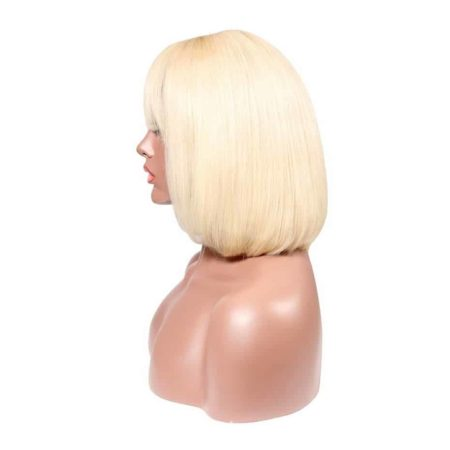Blonde Lace Front Wigs With Bangs 613 Short Bob 13X4 Transparent Lace Brazilian Hair (4)