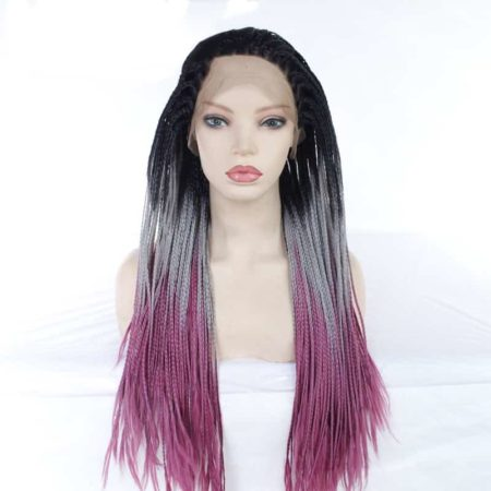 Box Braids With Baby Hair Synthetic Ombre Grey Purple 26in Free Part (3)