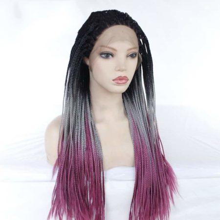 Box Braids With Baby Hair Synthetic Ombre Grey Purple 26in Free Part (4)