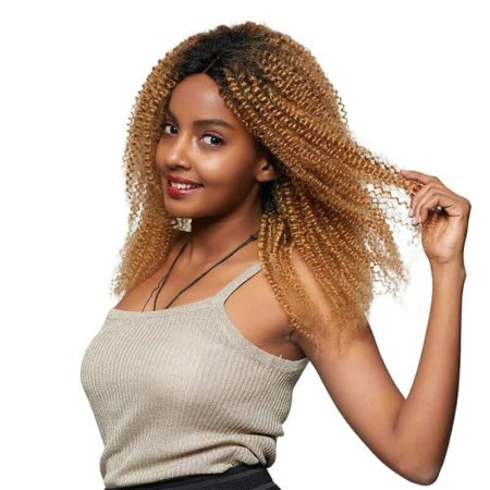 Brazilian 150% Density Kinky Curly Ombre Blonde Lace Front Wig T1B 27 Pre Plucked Hair Line (6)