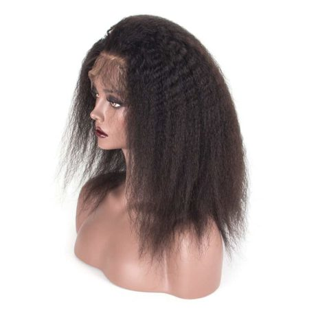 Brazilian Kinky Straight 13x4 Glueless Lace Front Human Hair Wigs Pre Plucked 150 Density (4)