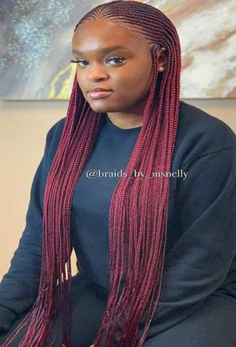 Burgundy feed in braids