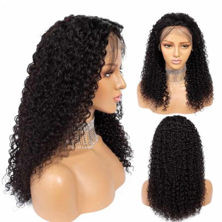 Peruvian Kinky Curly 13x4 Lace Front Human Hair Wigs With Baby Hair (4)