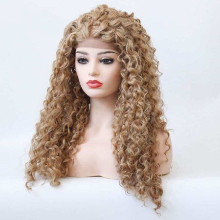 Strawberry Blonde Lace Front Wig Glueless Synthetic Curly Heat Resistant Fiber Hair (1)