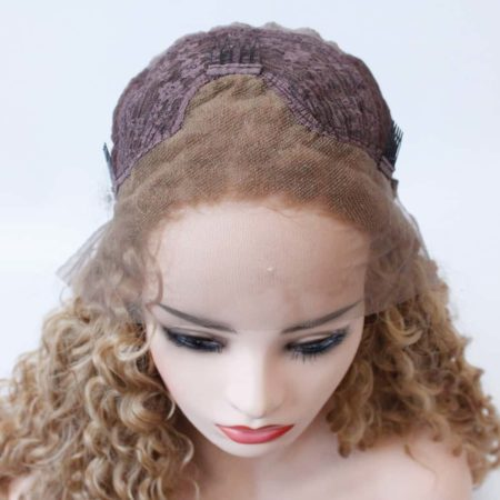 Strawberry Blonde Lace Front Wig Glueless Synthetic Curly Heat Resistant Fiber Hair (6)