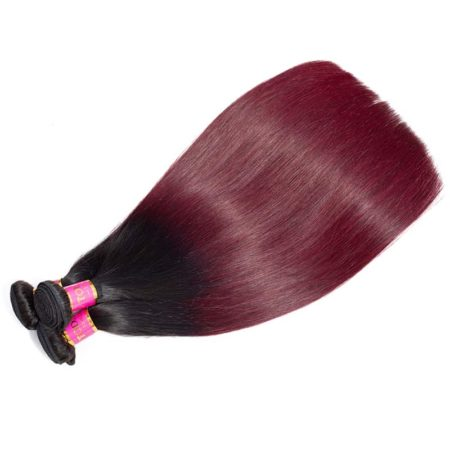 1b 99J Burgundy Brazilian Straight Hair Ombre Human Bundles (2)