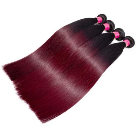 1b 99J Burgundy Brazilian Straight Hair Ombre Human Bundles (4)