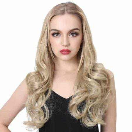 20 Inch Curly Blonde Synthetic Hair U Part Half Wig (1)