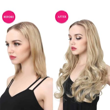 20 Inch Curly Blonde Synthetic Hair U Part Half Wig (2)