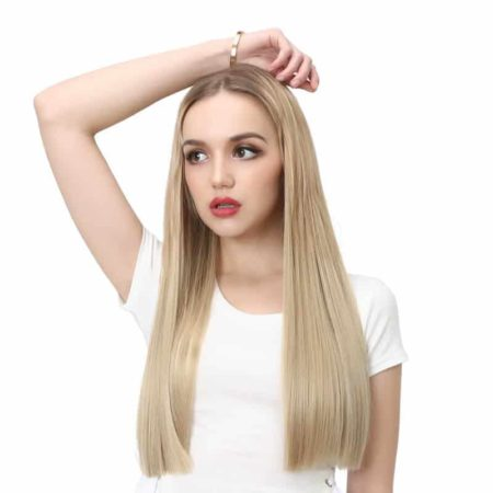 24 Inch Long Straight Blonde Synthetic U Part Half Wig (5)