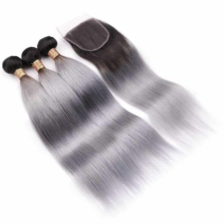 3 Bundle Hair Deals With Closure Tb Dark Grey Brazilian Hair Straight (1)