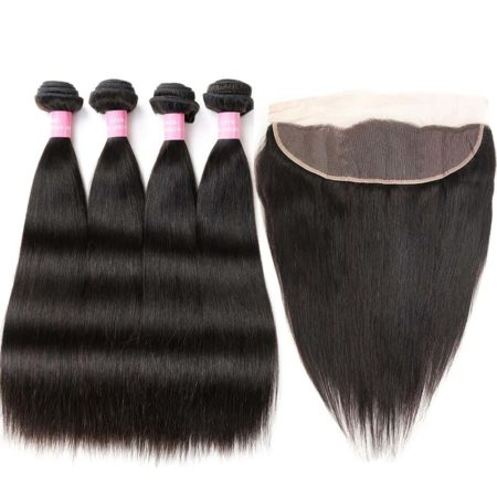 3&4 Bundles With Frontal Malaysian 100% Human Straight Hair Weave (1)