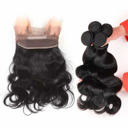 360 Frontal Closure With Bundles Malaysian Human Body Wave Hair (1)