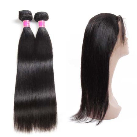 360 Frontal Closure With Bundles Malaysian Straight Hair 2 Bundles With Baby Hair (4)