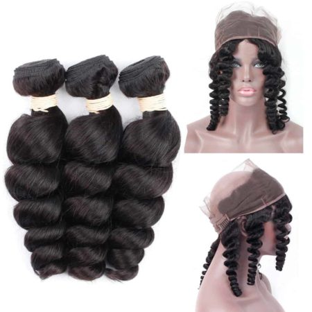 360 Frontal With Bundles Cheap Closure Human Brazilian Hair Loose Wave Natural Color (1)