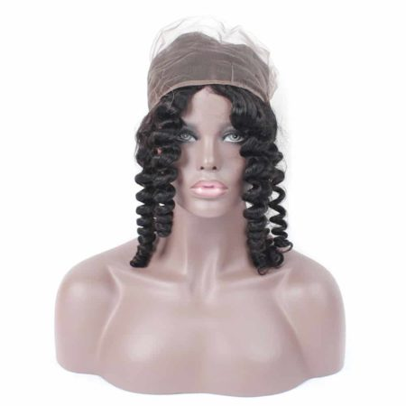 360 Frontal With Bundles Cheap Closure Human Brazilian Hair Loose Wave Natural Color (5)