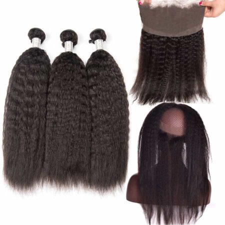 360 Frontal With Bundles Malaysian Kinky Straight Human Hair (5)