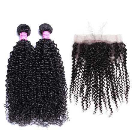 360 Full Frontal Weave With Brazilian Remy Kinky Curly Human Hair 2 Bundles (1)