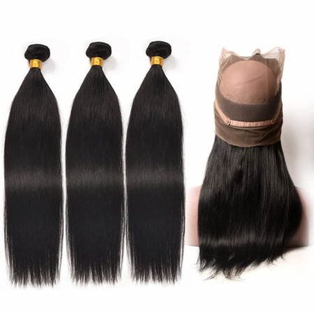 360 Human Hair Frontal With 3 Bundles Indian Straight Human Hair (1)