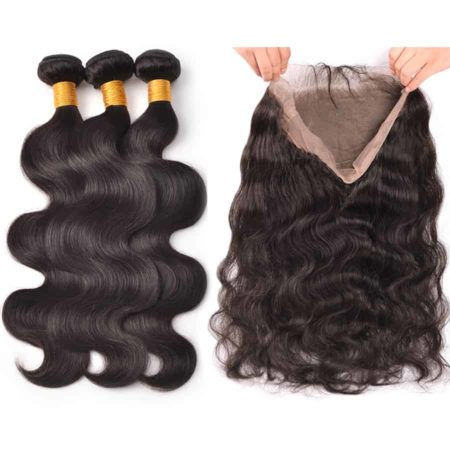 360 Lace Closure With Bundles Human Peruvian Body Wave Hair (1)