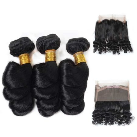 360 Lace Frontal And Bundles Malaysian Loose Wave Human Hair (1)