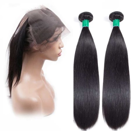 360 Lace Frontal Closure With Bundles 2 Pieces Peruvian Straight 100% Human Hair (3)