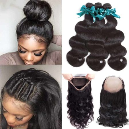 360 Lace Frontal Human Hair With Bundles Brazilian Body Wave Human Hair (6)