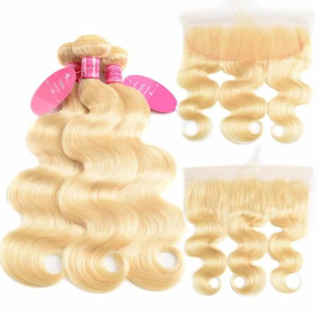 613 Blonde Brazilian Body Wave Human Hair Bundles Weave With Frontal (3)