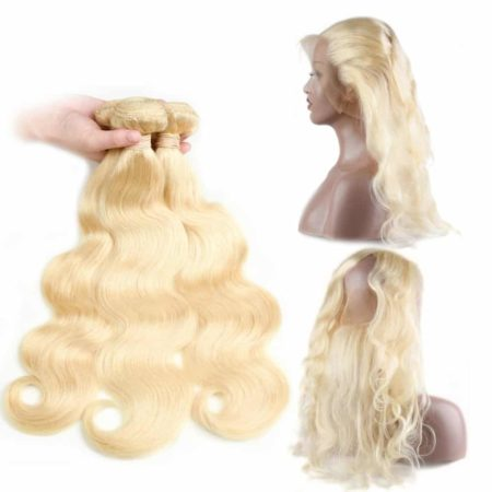 613 Blonde Peruvian Body Wave Human Hair 3 Bundles Weave With 360 Frontal (6)