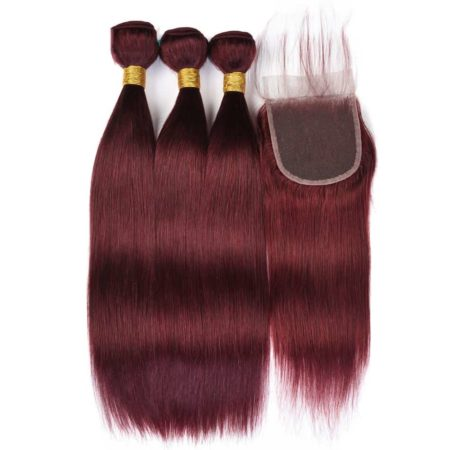 99J Red Burgundy Brazilian Straight Human Hair 3 Bundles with Closure (4)