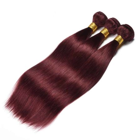 99J Red Burgundy Brazilian Straight Human Hair 3 Bundles with Closure (5)