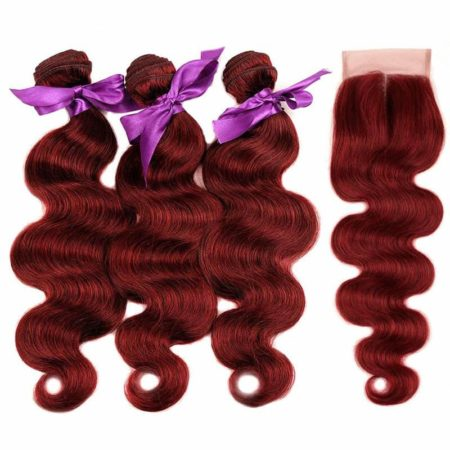 99J Red Burgundy Indian Body Wave Human Hair Bundles With Closure (4)