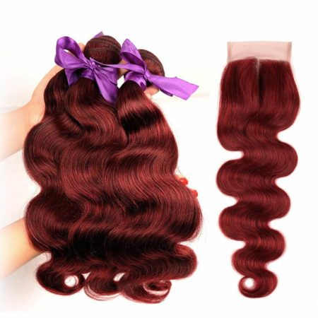 99J Red Burgundy Indian Body Wave Human Hair Bundles With Closure (5)
