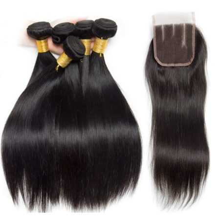 Affordable Peruvian Straight Human Hair Bundles With Closure Deal (1)