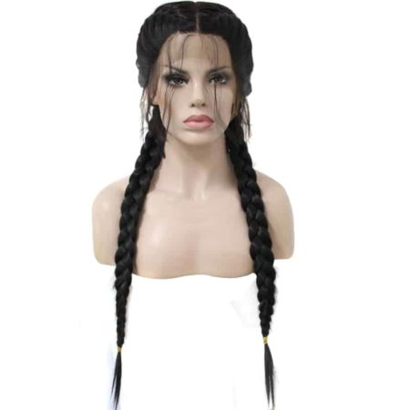 Black Brown Dark Roots Ombre Blonde Synthetic Braided Lace Front Wig With Baby Hair (4)