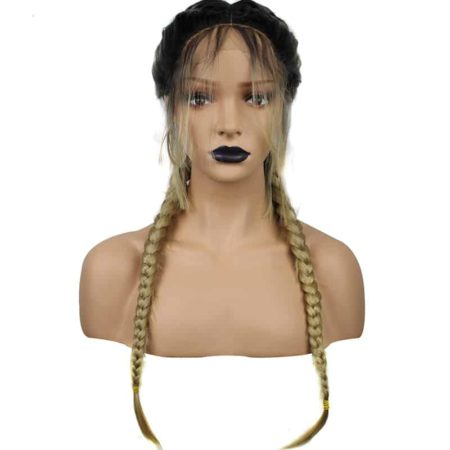Black Brown Dark Roots Ombre Blonde Synthetic Braided Lace Front Wig With Baby Hair (6)