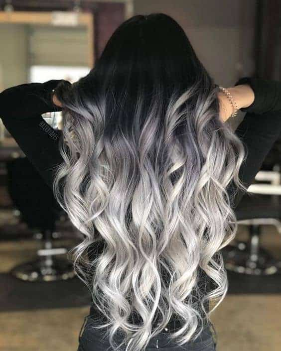 Black to silver ombre style