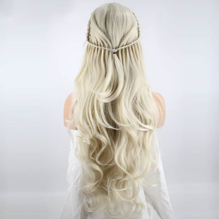 Blonde Braided Wig Natural Wave Princess Synthetic Lace Front Wig With Baby Hair (4)