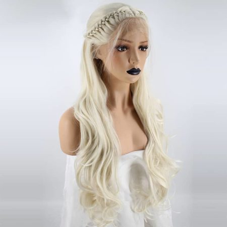 Blonde Braided Wig Natural Wave Princess Synthetic Lace Front Wig With Baby Hair (5)