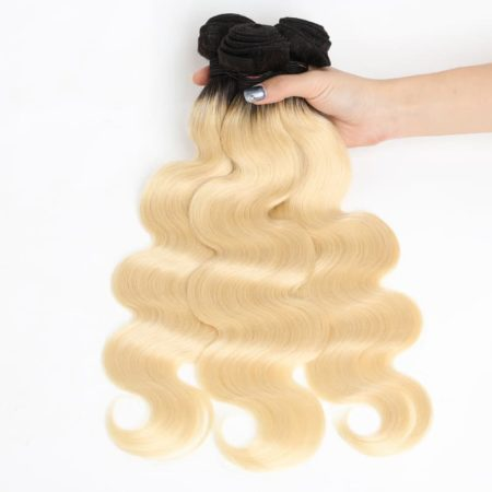 Body wave 1B 613 Ombre Blonde Brazilian 360 Lace Frontal Closure with Bundles Remy Hair 2 Tone Color (3)