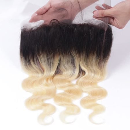 Body wave 1B 613 Ombre Blonde Brazilian 360 Lace Frontal Closure with Bundles Remy Hair 2 Tone Color (5)